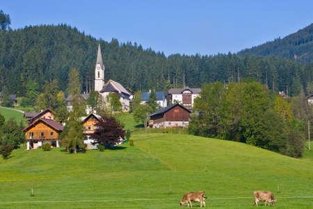 religiosity: Gosau, beautiful town in Salzkammergut region, Austria Stock Photo