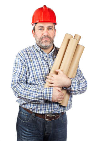 Construction worker holding cardboard tubes containing blueprints, isolated on a white background photo