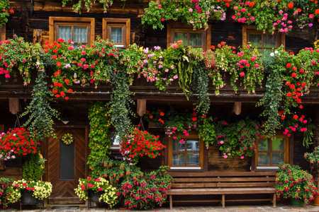 Typical beautiful floral adornments in Dienten, Salzkammergut region, Austria Stock Photo - 4603480