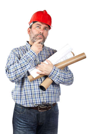 Construction worker thinking while holding blueprints, isolated on a white background photo