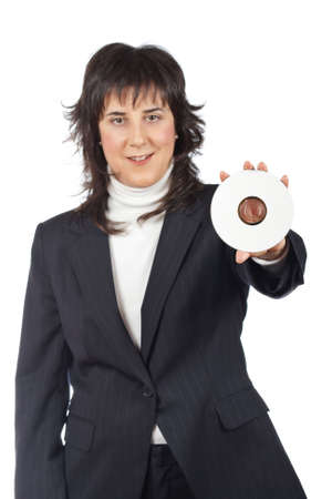 rewrite: Business woman holding a dvd disc over a white background. Focus on dvd disc