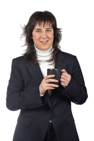 Serious business woman standing over a white background Stock Photo - 4832294