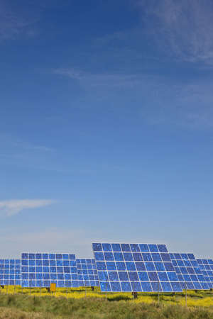 electrical panel: Solar panels in the power plant for renewable energy Stock Photo