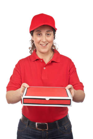 A pizza delivery woman holding a hot pizza. Isolated on white photo