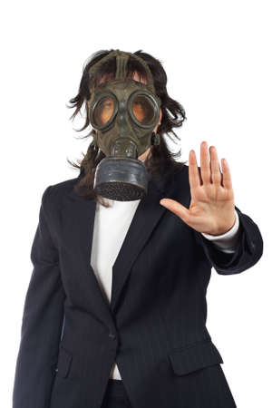 Business woman in gas mask isolated on white background. Eyes on focus, shallow depth of field photo