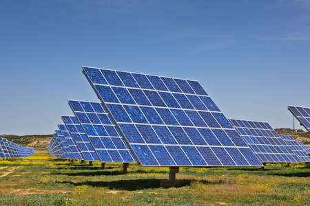 Solar panels in the power plant for renewable energy Banco de Imagens - 4983425