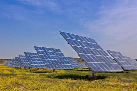 Solar panels in the power plant for renewable energy Stock Photo