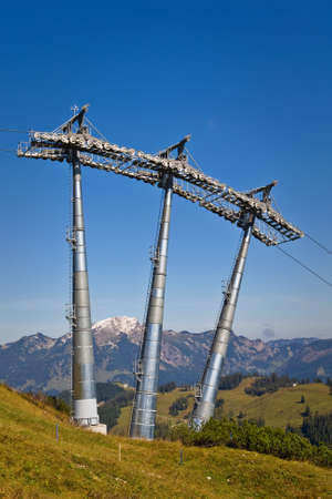 Ski lift tower under high mountains, Gosau Austria photo