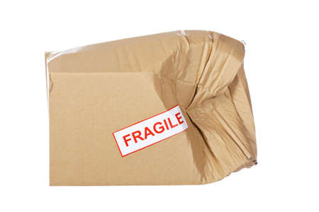breakable: Damaged cardboard box,  isolated on white background