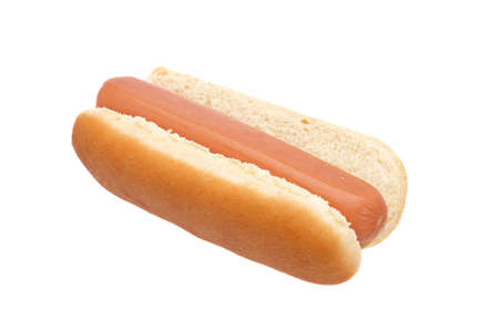 hotdogs: A hot dog isolated on white background. Shallow depth of field
