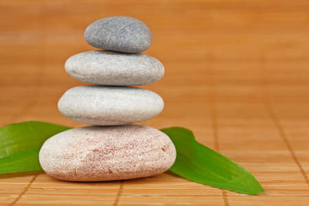 Stack of balanced stones with shallow depth of field photo
