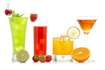 A glass of fresh strawberry, orange and kiwi juice reflected on white background. Shallow depth of field Banco de Imagens - 5878363
