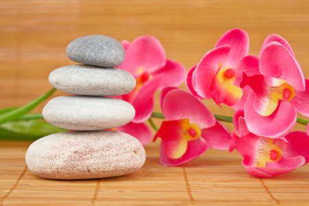 Stack of balanced stones and flower with shallow depth of field Stock Photo - 5917848