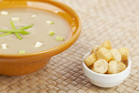 Cream of mushroom soup and bread croutons. Shallow depth of field photo
