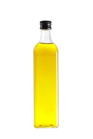 aceite de cocina: Botella de aceite de oliva, aislado sobre fondo blanco