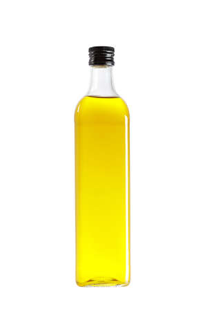 oilcan: Olive oil bottle isolated on white background