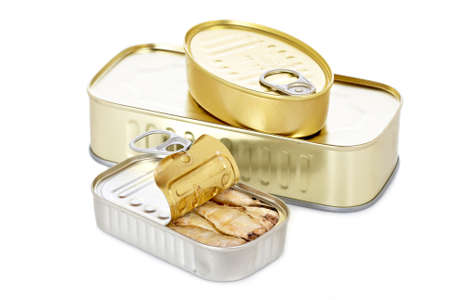 tinplate: Opened tin of sardines with soft shadow on white background