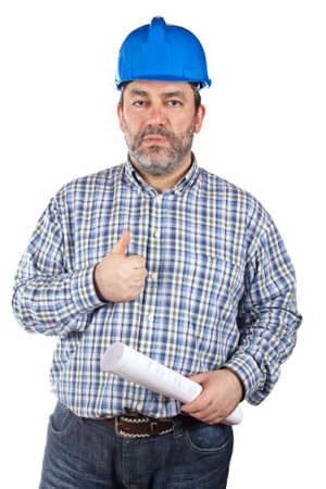 Construction worker holding blueprints, isolated on a white background photo