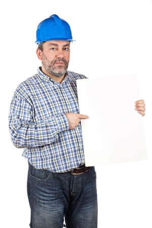 Construction worker showing a blank card, isolated on a white background photo