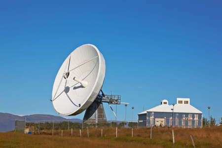 Satellite communications dish near Hofn, Iceland photo