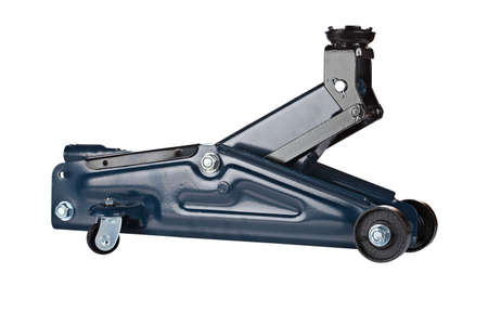 hydraulic lift: Hydraulic floor jack isolated on white background