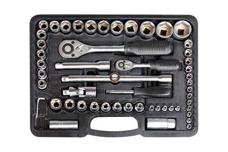 chrome vanadium: Socket wrench toolbox isolated on white background Stock Photo