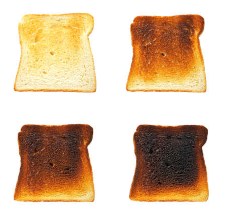 Slices of toast bread before and after, isolated on white background Stock Photo - 6981557