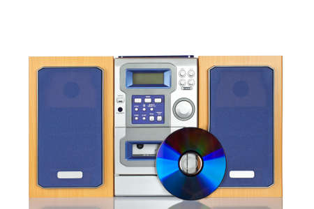 Compact sound system stereo with CD, tape and tuner reflected on white background Stock Photo - 7059556