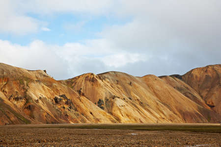Multicolored rhyolite mountains in Landmannalaugar, Fjallabak Nature Reserve, Iceland photo