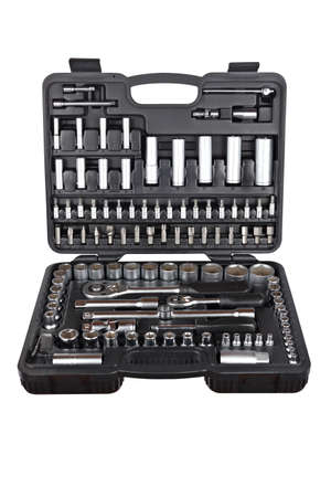 chrome vanadium: Socket wrench toolbox isolated on white background. Shallow depth of field