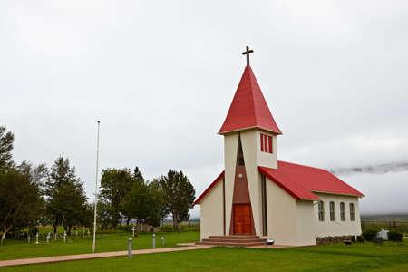 fjords: Valpjofsstadur Church, East Fjords, Iceland Stock Photo