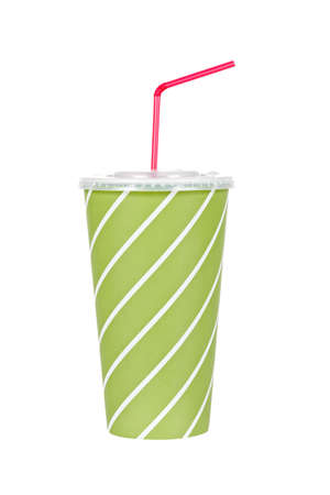 A soda drink with red straw, isolated on white background