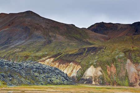 Multicolored rhyolite mountains in Landmannalaugar, Fjallabak Nature Reserve, Iceland photo