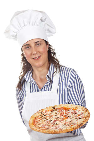 Attractive cook woman holding a tasty Italian pizza photo