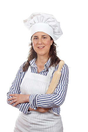 Attractive cook woman holding a wooden rolling isolated on white background photo