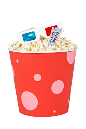Popcorn bucket with two tickets and 3D anaglyph glasses isolated on a white background Stock Photo - 7232880