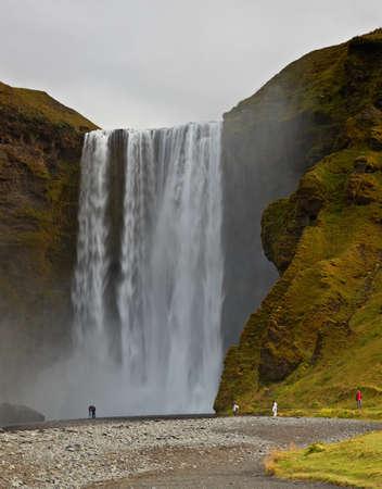 skogafoss waterfall: Skogafoss Waterfall, South Coast, Iceland Stock Photo