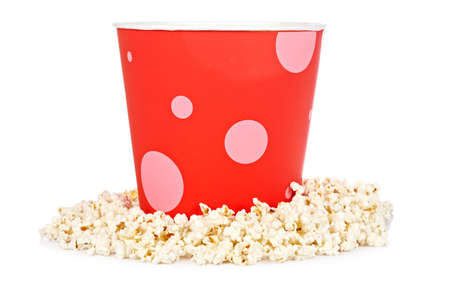 Popcorn in a bucket isolated on a white background Stock Photo - 8797165