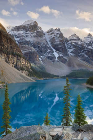 View of Wenkchemna Peaks from the shore of Moraine Lake, Banff National Park, Alberta, Canada photo