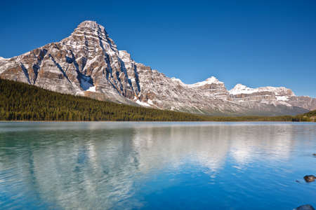 chephren: Mount Chephren and Waterfowl Lake, Icefields Parkway, Banff National Park, Alberta, Canada Stock Photo