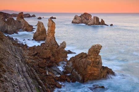 Amazing seascape sunrise at winter. Los Urros, Spain Stock Photo - 9414479
