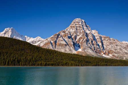 chephren: Mount Chephren and Waterfowl Lake. Stock Photo