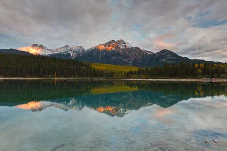 pyramid peak: Patricia Lake and Pyramid Mountain, Jasper National Park, Alberta, Canada