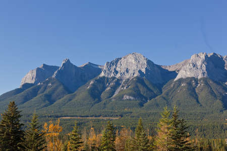 alberta: View of Majestic mountains from Canomore, Canadian Rockies, Banff National Park, Alberta, Canada