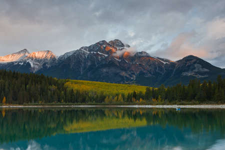 pyramid peak: Patricia Lake and Pyramid Mountain, Jasper National Park, Alberta, Canada