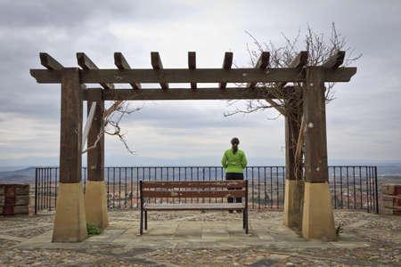 alava: Lonely woman looking at the landscape, Labastida, Alava, Spain