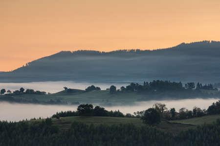 A foggy mountain landscape, Carranza, Bizkaia, Spain Stock Photo