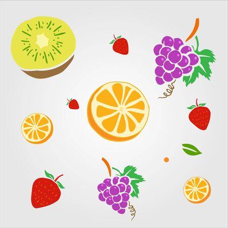 flat illustration Set of fruits, orange, grape, strawberry, and kiwi