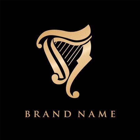 harp for music logo Ilustração