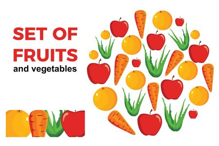 Set of fruits and vegetables Ilustração